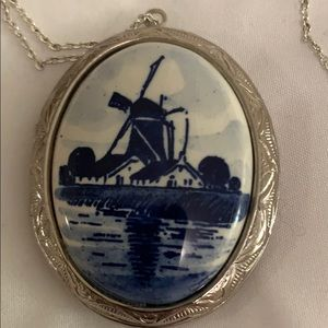 LARGE Vintage Delft Blue Hand Painted Locket